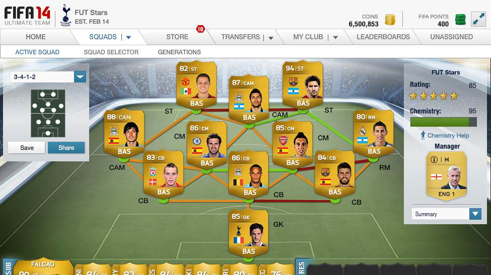FIFA 14 Ultimate Team Web App