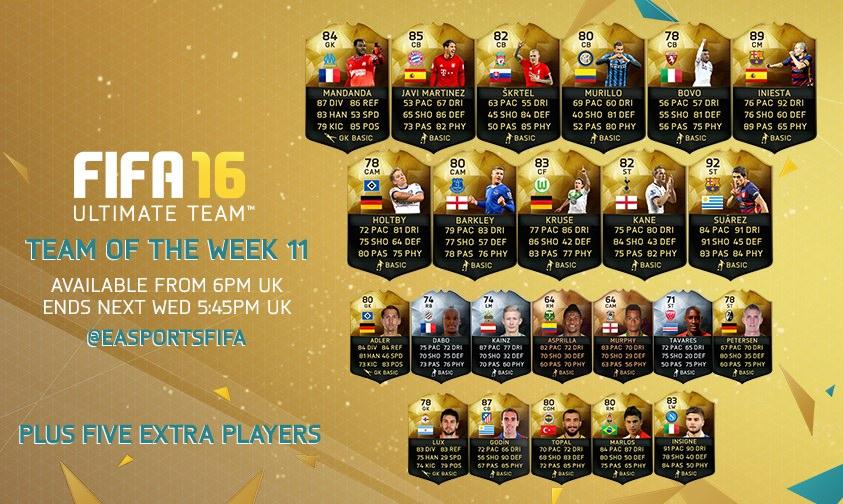 FIFA 16 Ultimate Team – Team of the Week 11