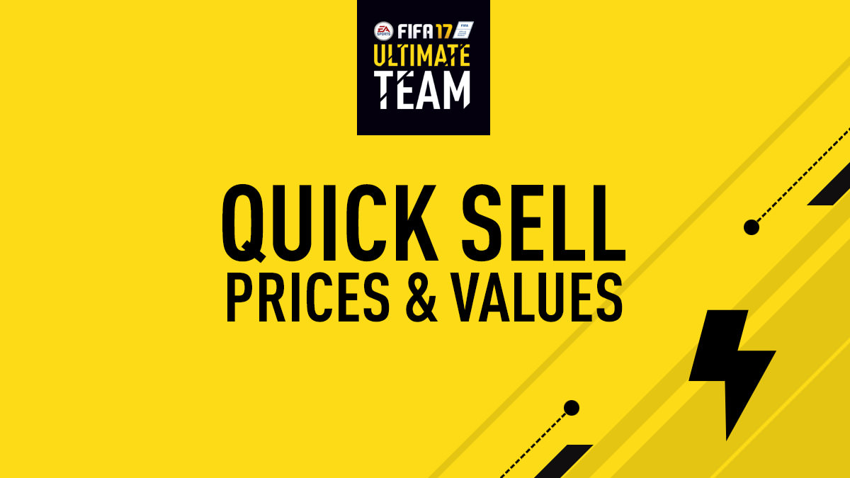 Quick Sell Prices – FIFA 17 Ultimate Team