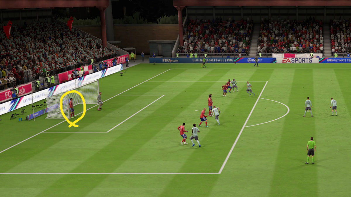 Send defender to cover the open space of your goal