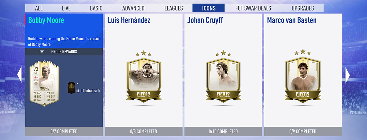 Icons in FUT 19 SBCs
