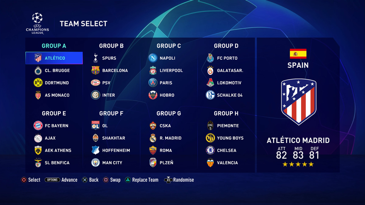 FIFA 20 UEFA Champions League Groups and Teams