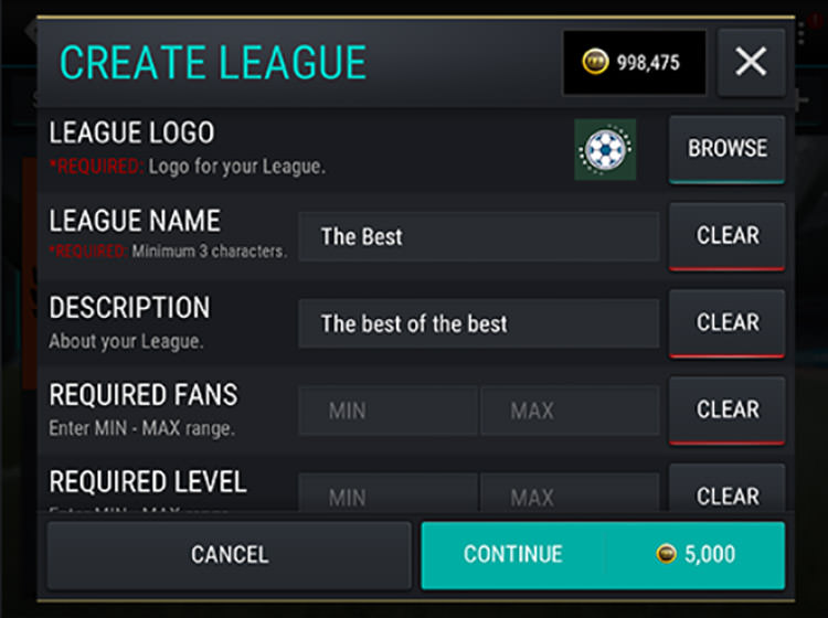 FIFA Mobile Create a League