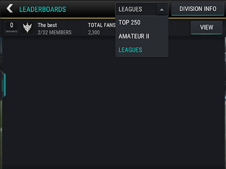 FIFA Mobile League Leaderboards