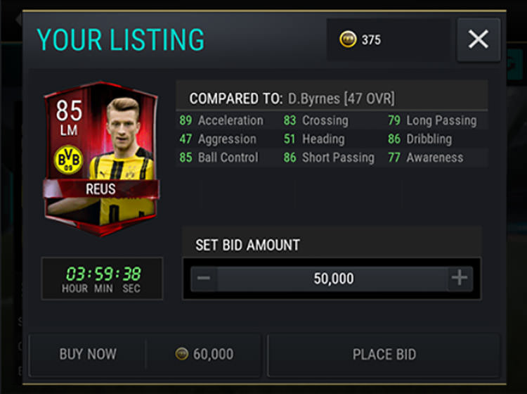FIFA Mobile Coins BID and BIN