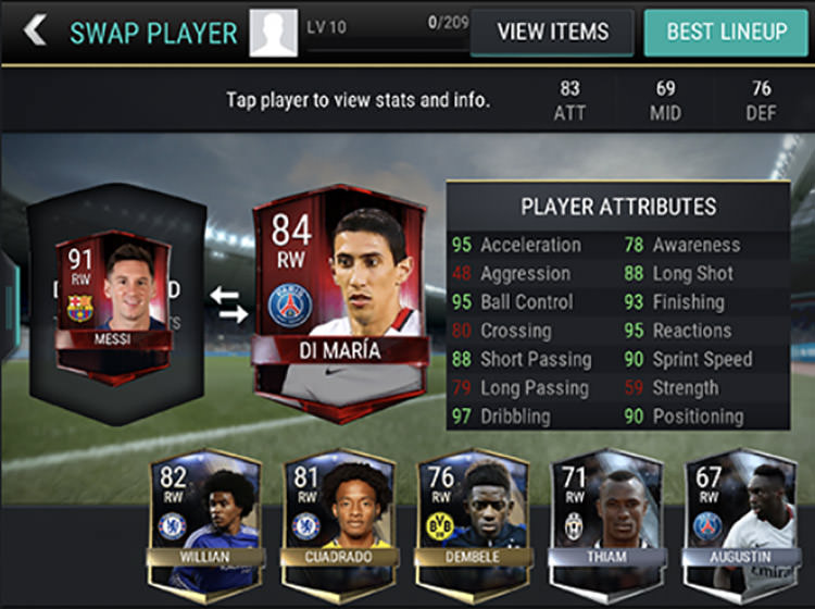 FIFA Mobile Comparing Attributes