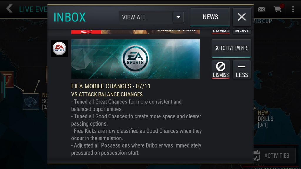 FIFA Mobile – Balance Changes on VS Attack Mode