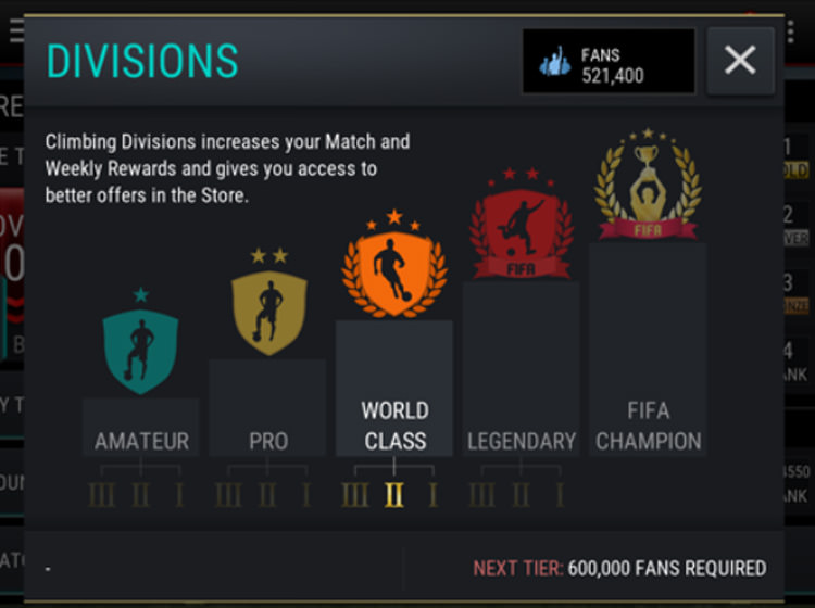 FIFA Mobile VS Attack Divisions