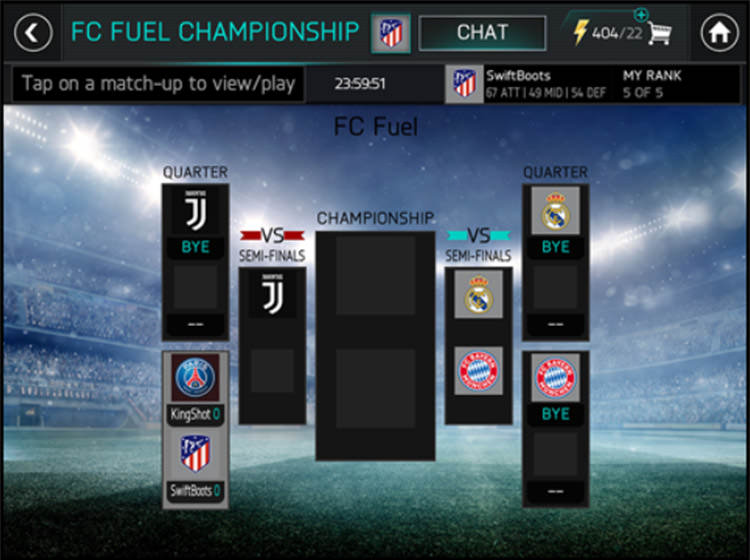FIFA Mobile League Championship Bracket Play