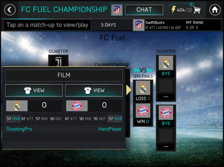 FIFA Mobile League Championship Rankings