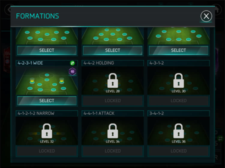 FIFA Mobile Unlocking Formations