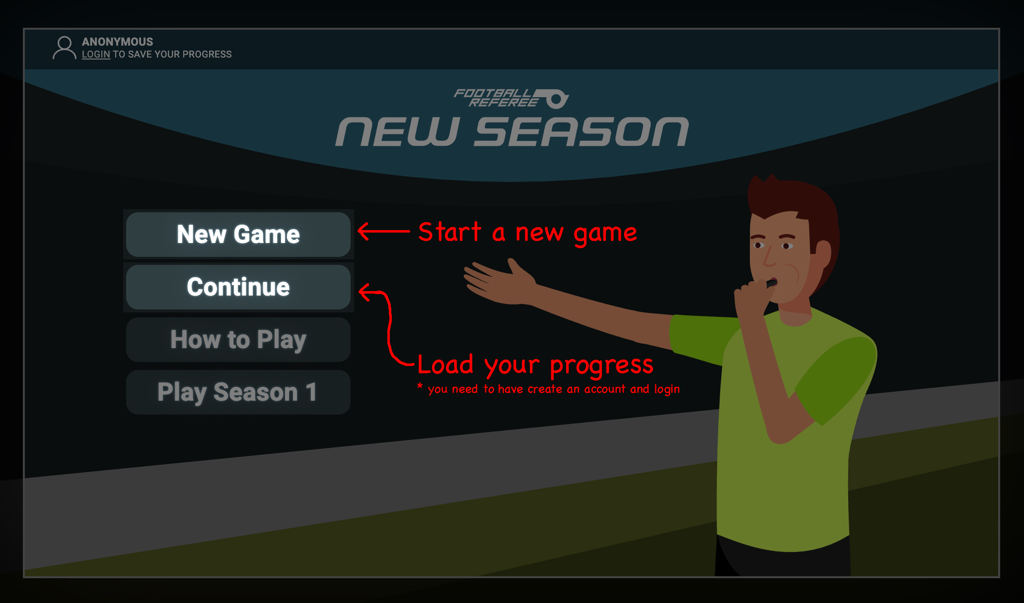 Football Referee Main Menu