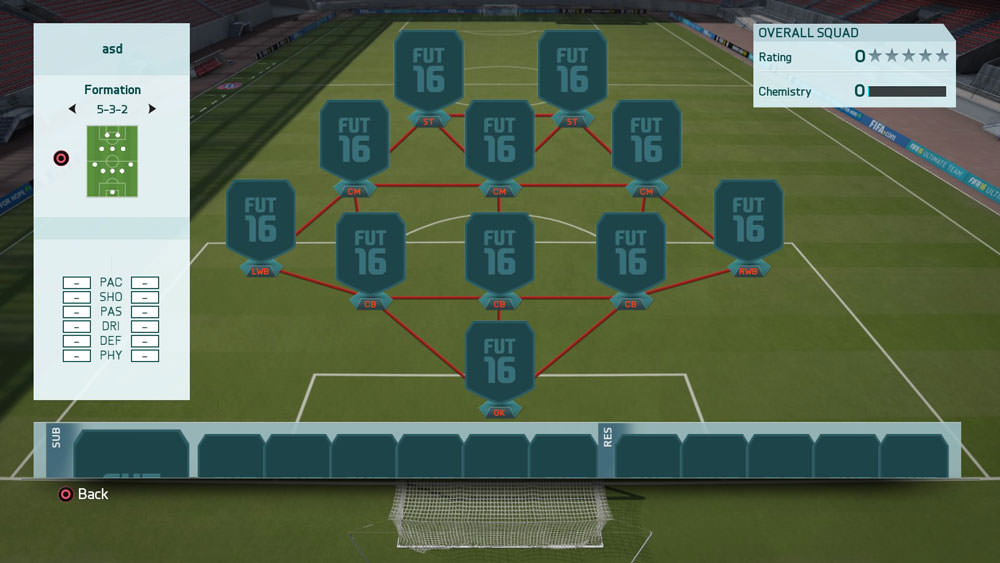 FIFA 16 Formation 5-3-2