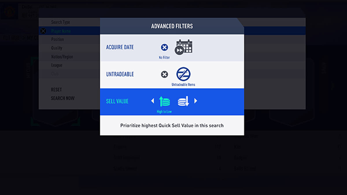 FUT 19 Advanced Search