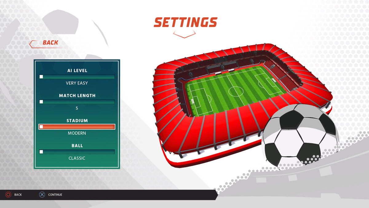 Super Soccer Blast Settings